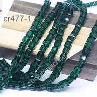 Cristal cuadrado facetado verde de 6x6, tira de 48 cristales aprox.