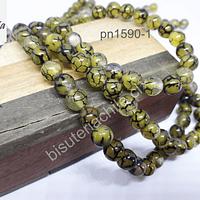 Ágata lisa de 8 mm en tonos verdes ocre, tira de 46 piedras