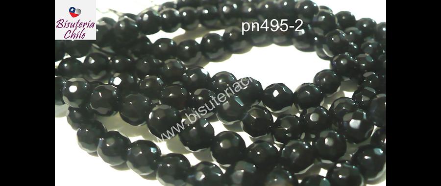 Agata negra facetada en 6 mm, tira de 63 piedras aprox.