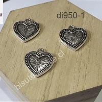 Dije plateado Corazón con diseño, 20 x 20 mm, set de 3 unidades