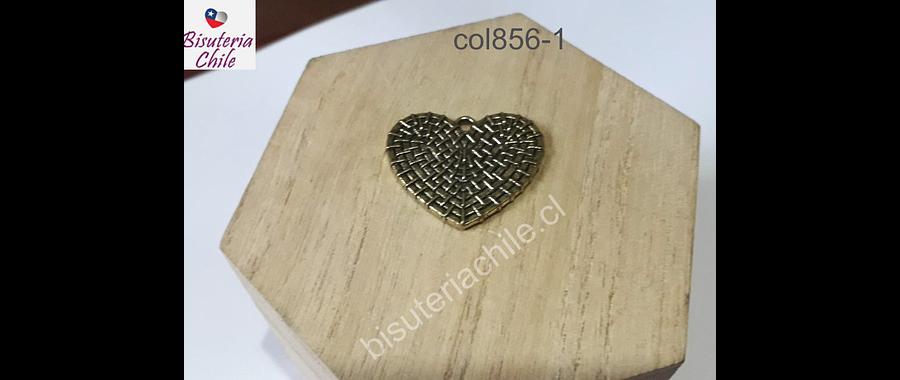 Colgante dorado en forma de corazón, 27 mm x 25 mm, por unidad. San Valentin