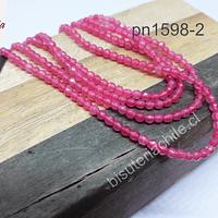 Ágata de 2 mm facetada rosada fuerte, tira de 175 piedras