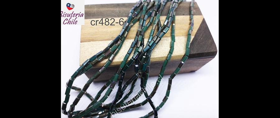 Cristal tubo facetado, color verde  con brillos dorados, tira de 100 cristales aprox