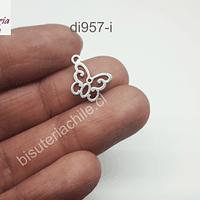 Dije de acero en forma de mariposa, 15 mm x 12,8 mm, por unidad