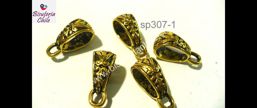 Separador dorado, especial para colgar colgantes, 7 mm de ancho por 14 mm de largo, set de 5 unidades