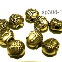 Separado cabeza de buda envejecido, 7 mm de diámetro, set de 9 unidades