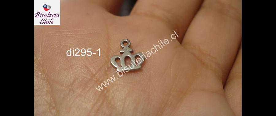 Dije acero quirurgico en forma de corona, 8 mm de ancho por 9 mm de largo, venta por unidad