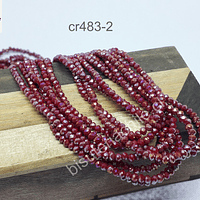 Cristal facetado de 2 mm, color rojo tornasol, tira de 190 piedras aprox.
