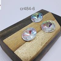 Cristal facetado tornasol, con orificio superior, 18 mm de diámetro, set de 3 unidades