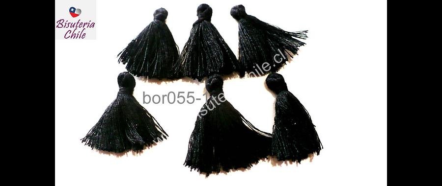 Borla chica negro, 25 mm de largo, set de 5 unidades