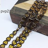 Vidrio y cobre en forma de corazón verde claro, 10x 10 mm, tira de 30 perlas aprox.
