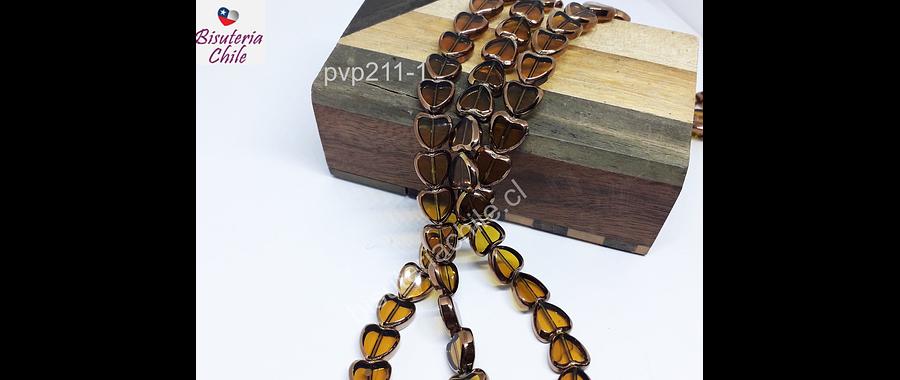 Vidrio y cobre en forma de corazón café claro, 10 x 10mm, tira de 30 perlas aprox.