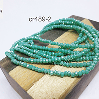 Cristal facetado de 2 mm, color jade tornasol, tira de 190 piedras aprox.