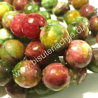 Agatas en tonos verdes rosados, 10 mm, tira de 38 piedras