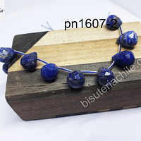 Lapislázuli en forma de gota facetada, 14 mm de argolla x 11 mm de ancho, set de 6 unidades