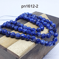 Ágata de 6 mm en tono azul jaspeado, tira de 60 piedras aprox.