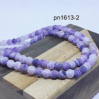 Ágata frosting 6 mm en tono lila, tira de 63 piedras aprox