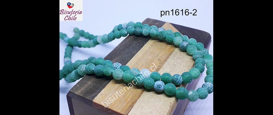 Agatas, Ágata frosting 8 mm en tonos verdes, tira de 47 piedras aprox
