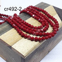 Cristal redondo facetado de 4 mm, en color rojo, tira de 105 cristales