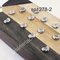 Separador plateado en forma de corazón, 7 x 8 mm, set de 12 unidades