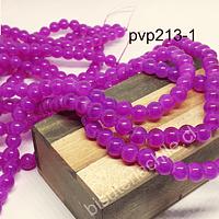 Perla de vidrio de 8 mm, en color fucsia, tira de 100 perlas aprox.
