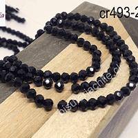 Cristal redondo facetado de 4 mm en color negro, tira de 105 cristales aprox