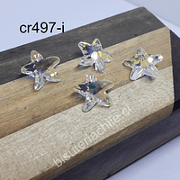 Cristal tornasol en forma de estrella de mar, 15 x 15 mm, set de 4 unidades, con orificio superior para colgar