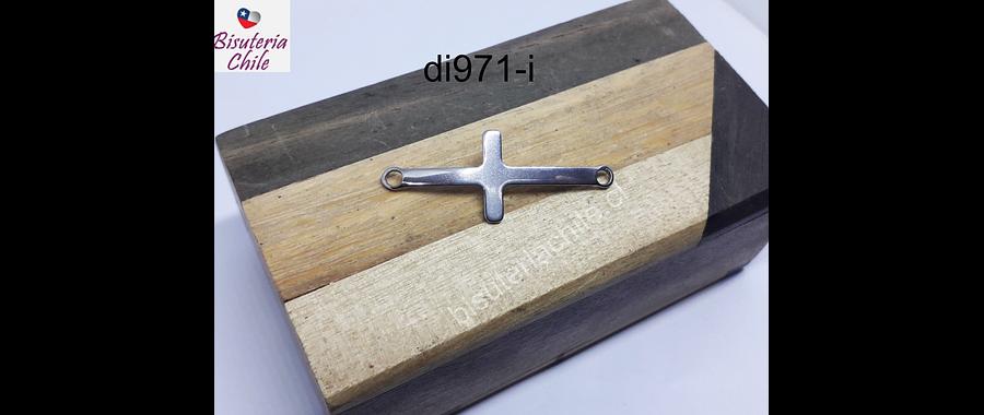 Dije de acero doble conexión en forma de cruz, 40 mm de largo x 15 mm de ancho, por unidad