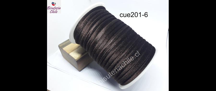 Cordón de terciopelo café, 5 mm de ancho, por metro