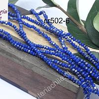 Cristal facetado de 2 mm, , color azul con brillos tornasol plateado, tira de 190 cristales aprox.