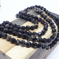 Obsidiana negra facetada hexagonal de 6 mm, tira de 30 piedras aprox.