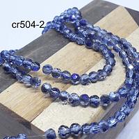 Cristal redondo facetado de 4 mm, en color gris con tonalidades azules, tira de 105 cristales aprox.