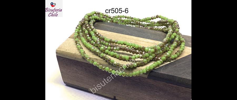 Cristal facetado de 2 mm, color verde claro con tonalidades café tornasol, tira de 190 cristales aprox.