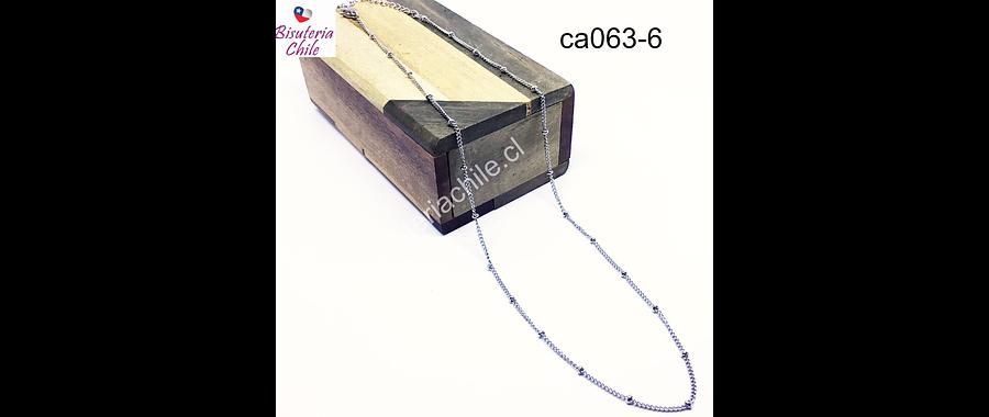 Collar de acero con bola, eslabón de 1x1 mm y sep bola 3 mm, collar con cierre, 45 mm de largo