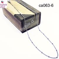 Collar de acero con bola, eslabón de 1x1 mm y sep bola 2 mm, collar con cierre, 45 mm de largo