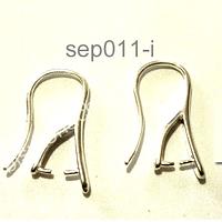 Gancho de aro bañado en plata, 20 mm de largo por 9 mm de ancho, por par