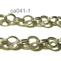 Cadena plateada doble, eslabón de 7 por 6 mm, por metro