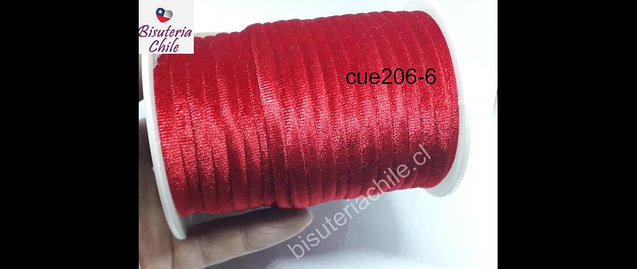 Cordón de terciopelo rojo, 5 mm de ancho, por metro