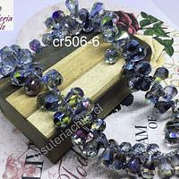 Cristal austriaco, gota facetada tornasol, 15x10 mm, set de 6 unidades