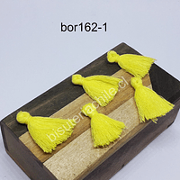 Borla color amarillo, 25 mm de largo, set de 5 unidades