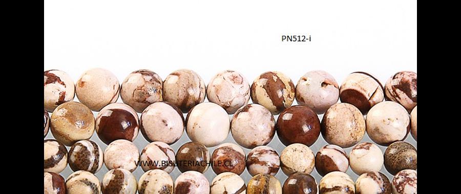 Jaspe Cebra Africano 8 mm,  tira de 48 piedras aprox