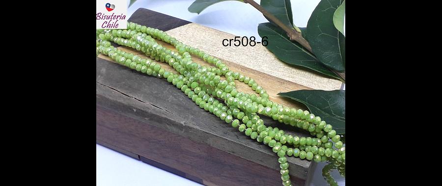 Cristal facetado de 2 mm, verde tornasol, tira de 190 cristales aprox