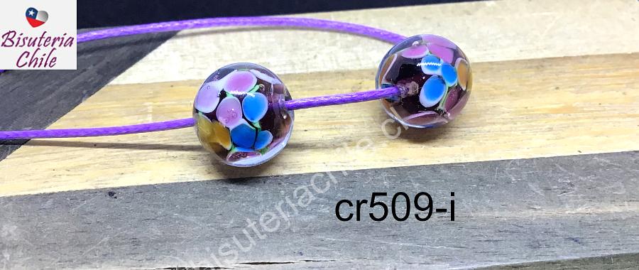 Vidrio murano, 12 mm, color ciruela con diseño flor, hecho a mano, set de 2 unidades