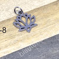 Dije de acero en forma de flor de loto, 17 x 12 mm, por unidad