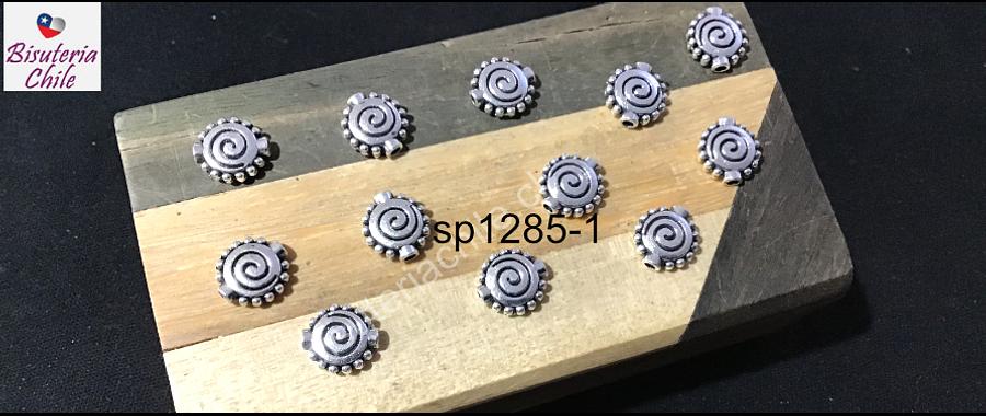 Separador plateado con diseño, 9 x 3 mm, agujero de 1,5 mm, set de 12 unidades