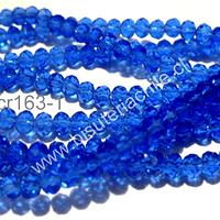 Cristal chino facetado de 4 mm color azul transparente, tira de 140 unidades