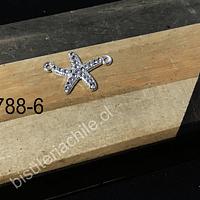 Dije doble conexión en forma de estrella de mar con strass, 22 mm de ancho x 15 mm de alto, por unidad