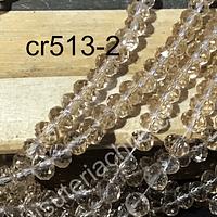 Cristal facetado de 6 mm, en color café claro, tira de 98 cristales aprox