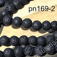 Piedra Volcanica negra de 8 mm, tira de 48 piedras aprox