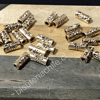 Separador dorado 8 mm de largo 3 mm, agujero de 1,5mm, set de 24 unidades